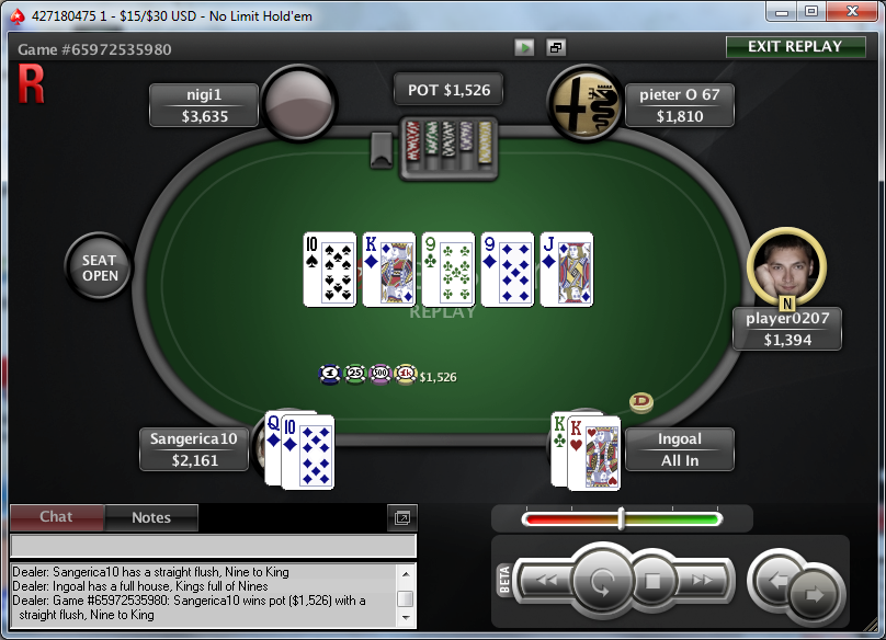 kings get chased down by runner runner straight flush